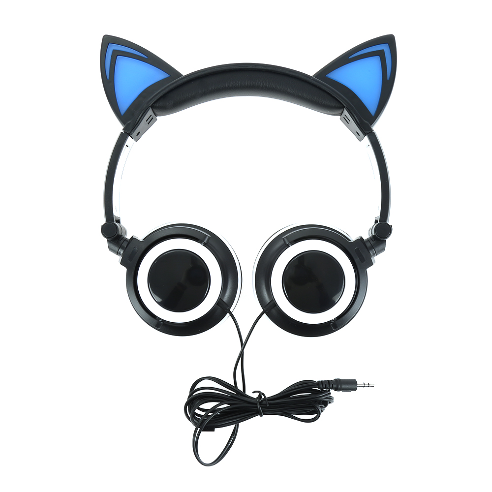 Neweat Foldable Flashing Glowing Cat Ear Headphones Gaming Headset Earphone with LED light For PC Laptop Computer Mobile Phone