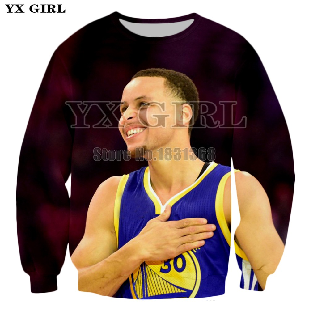 YX GIRL 2018 New Fashion Sweatshirt Celebrity Stephen Curry 3d Print Superstar Currie Sweatshirt Hip Hop Streetwear Tracksuits