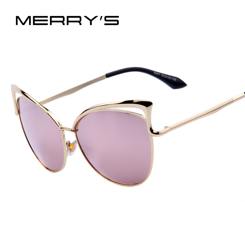 MERRY'S Fashion Kvinnor Märke Design Cat Eye Solglasögon Alloy Frame Womens Luxury Cat Eye Sun Glasses S'410