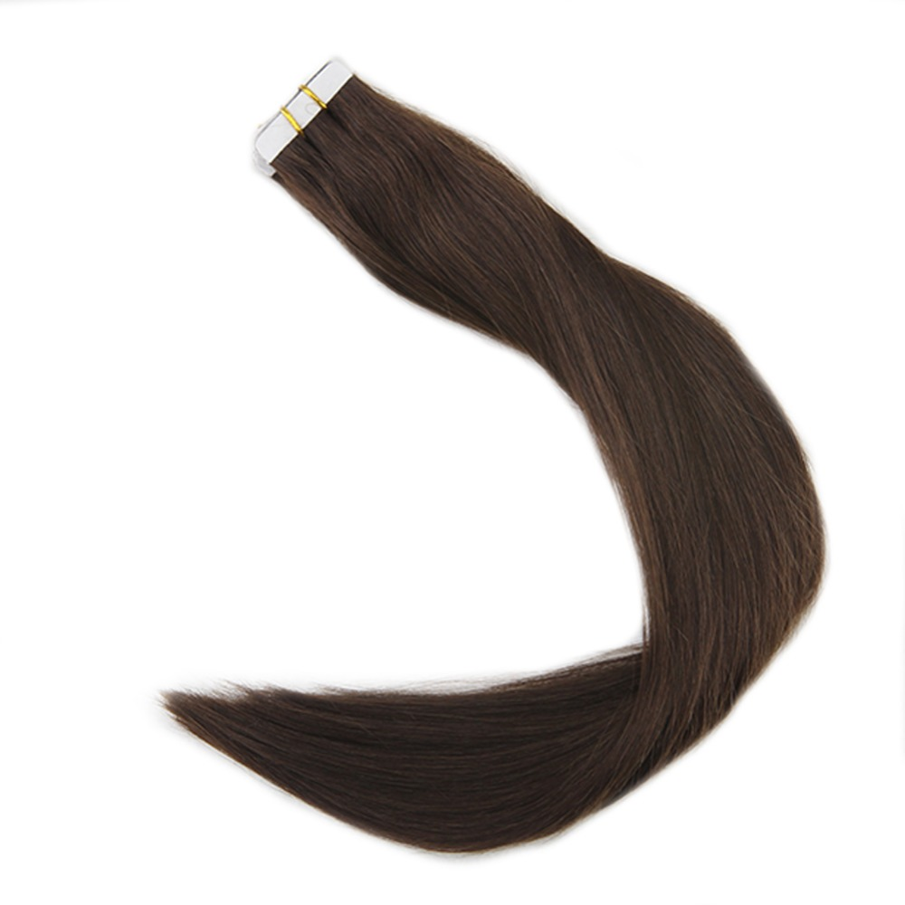 Full Shine Tape In Hair Extensions Color#4 Machine Made Remy Human Hair Brown 50g 20 Pcs Invisible Skin Weft Hair Glue On