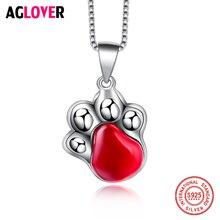 Genuine 925 Sterling Silver Bear Paw Shinning Crystal CZ Zircon Pendants Necklaces Animal Fashion Women Necklace Jewelry недорого