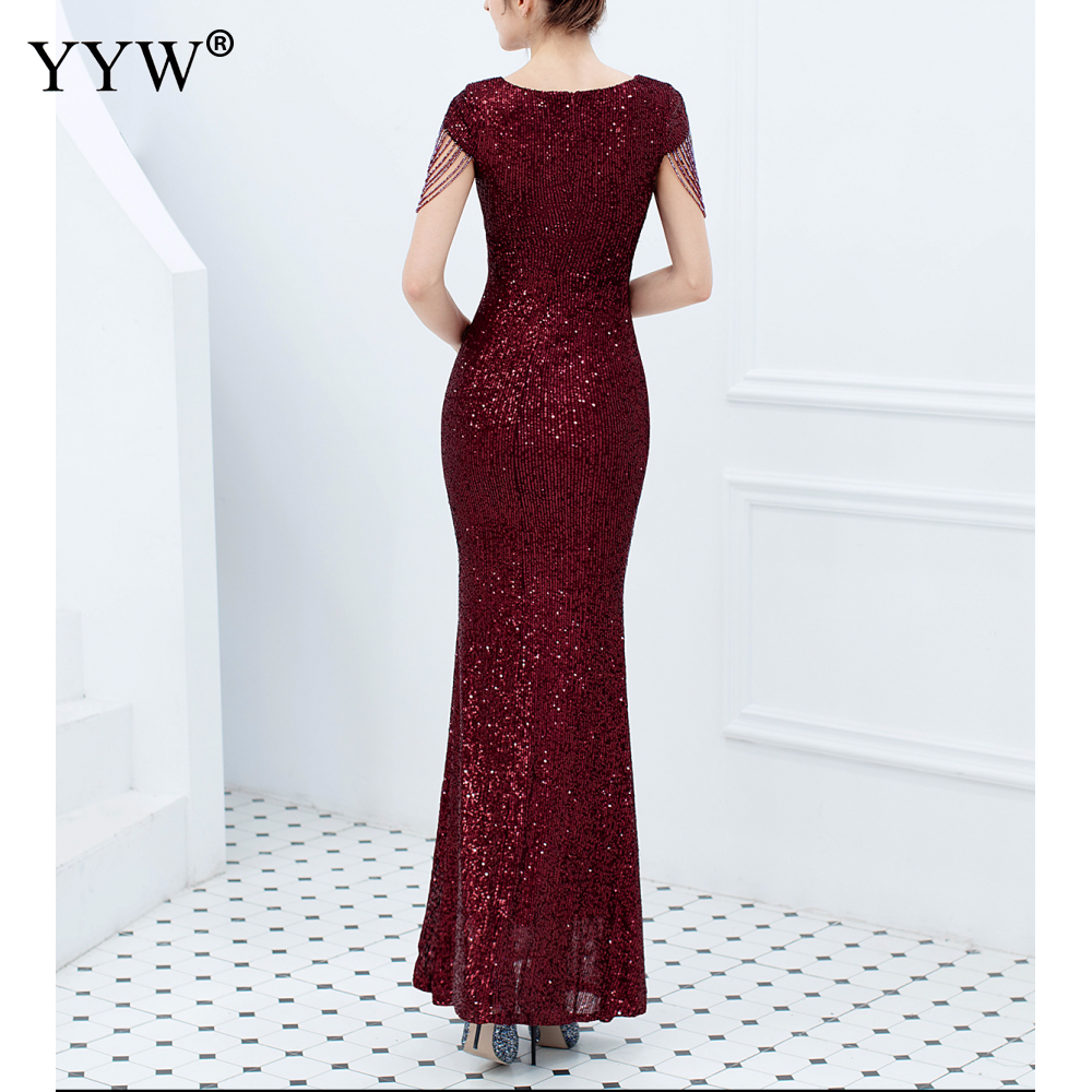 Luxury Sequined Women Evening Dress V Neck Short Sleeve Mermaid Party Gowns Short Sleeve Sexy Robe Femme Elegant Formal Dresses 3