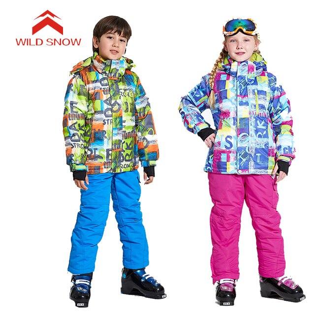 e14633b089 WILDSNOW Boys Girls  Winter Ski Suits Outdoor Waterproof Skiing Snowboarding  Camping Hiking Kids Child Ski Jackets + Pants MI021