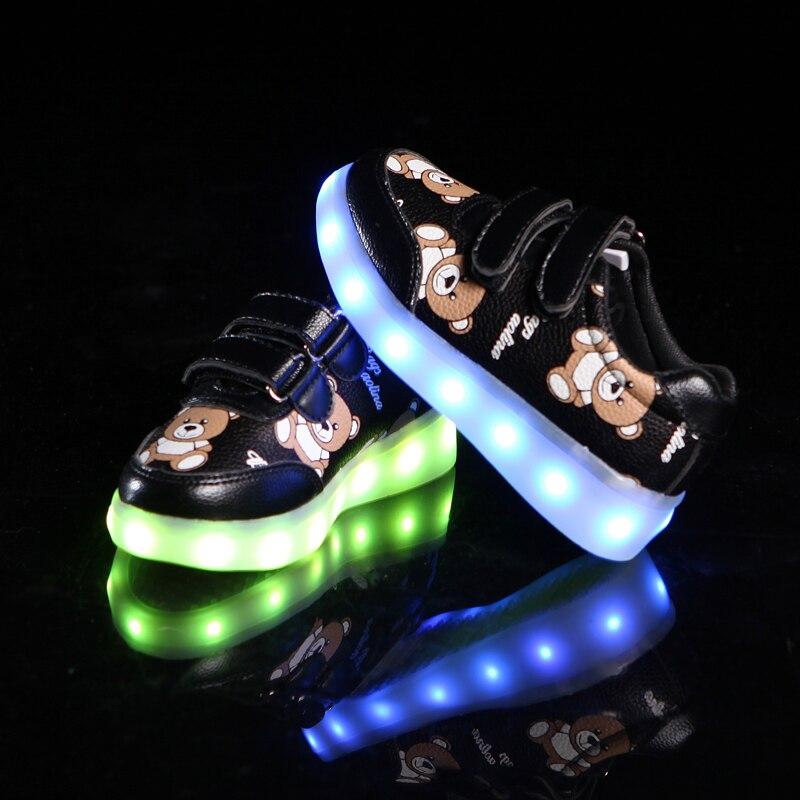 KINE PANDA Luminous Led Neon Sneakers Light up Flashing Trainer Flasher Glowing Sneakers Luminous Shoes with USB Boy Girl White