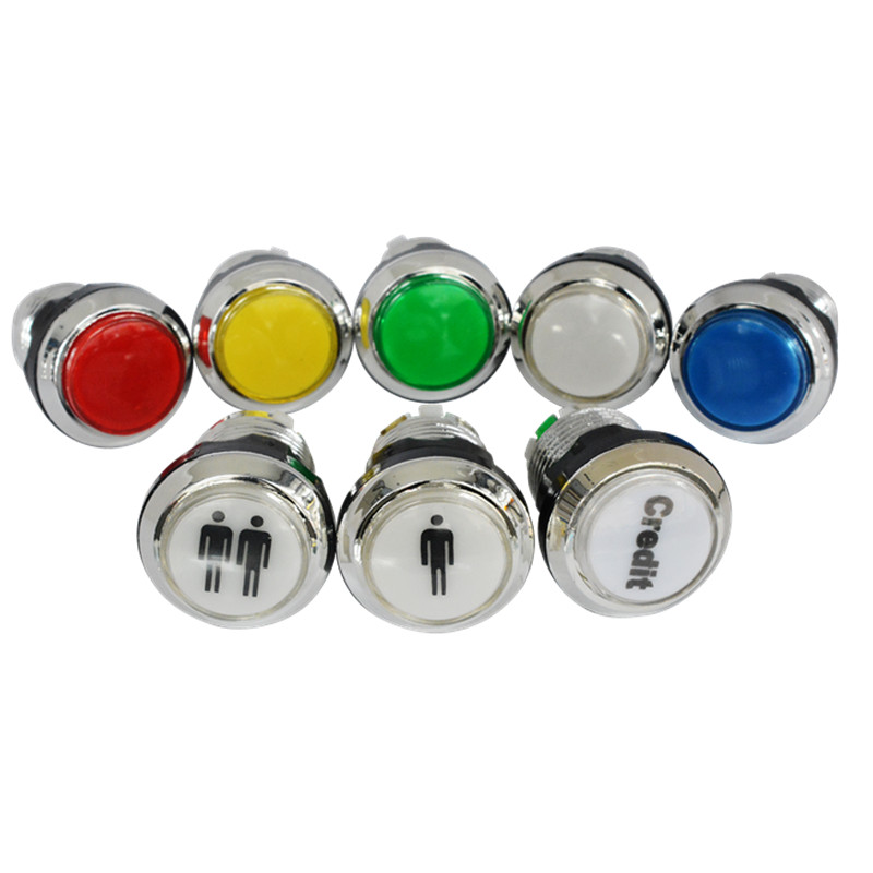 1pc 33mm silver chrome LED illuminated arcade switch push button with microswitch for ar ...