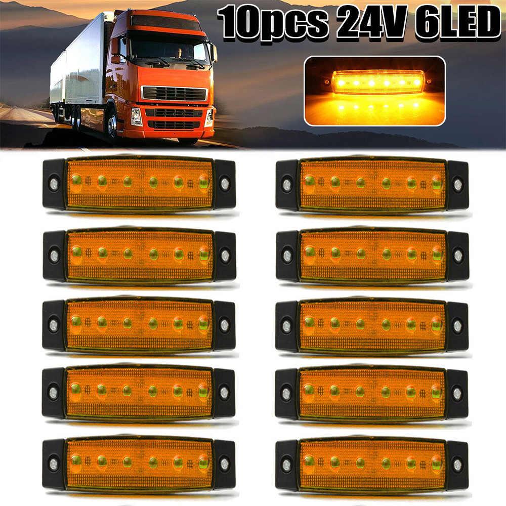 10 piezas amarillo 24V 6 LED lado marcador indicadores luces lámpara para camión de autobús remolque lado marcador luces