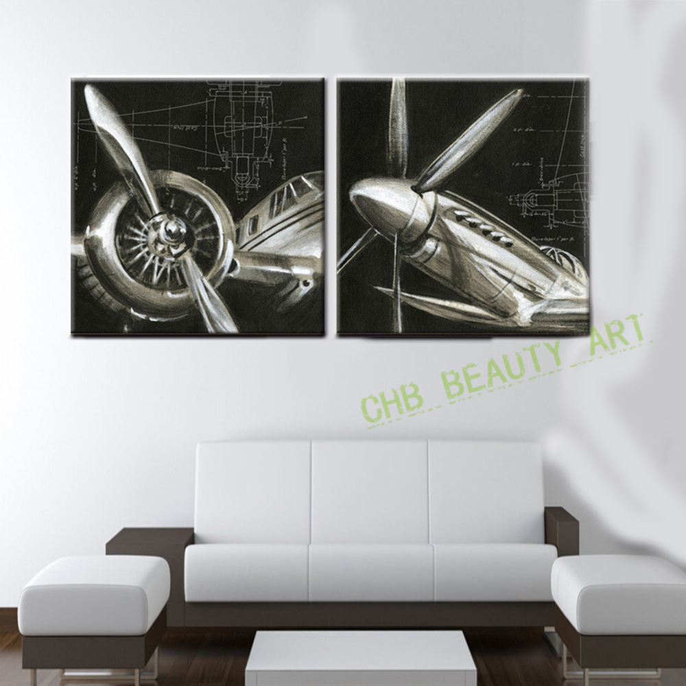 Airplane Wall Art aliexpress : buy 2 panels vintage airplane paintings cheap