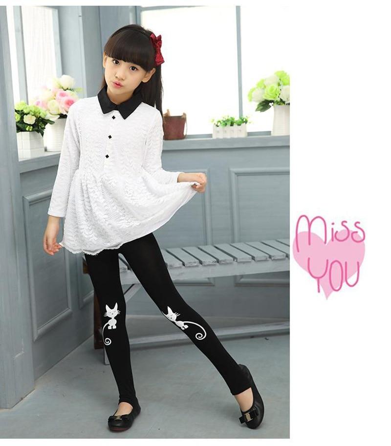 Весенне-осенние леггинсы для девочек; обтягивающие черные хлопковые эластичные штаны; леггинсы для девочек с рисунком кота, банта, цветов, кота; детские штаны - Цвет: cat