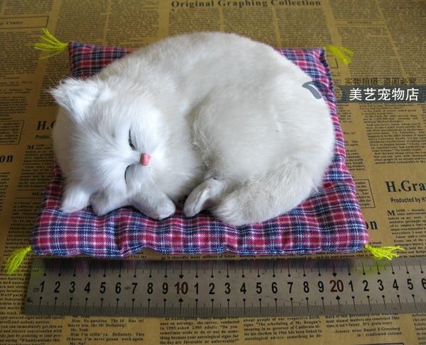 simulation white cat model,19x14cm sounds miaow cat with mat,polyethylene& fur handicraft,home Decoration, Xmas gift b3649