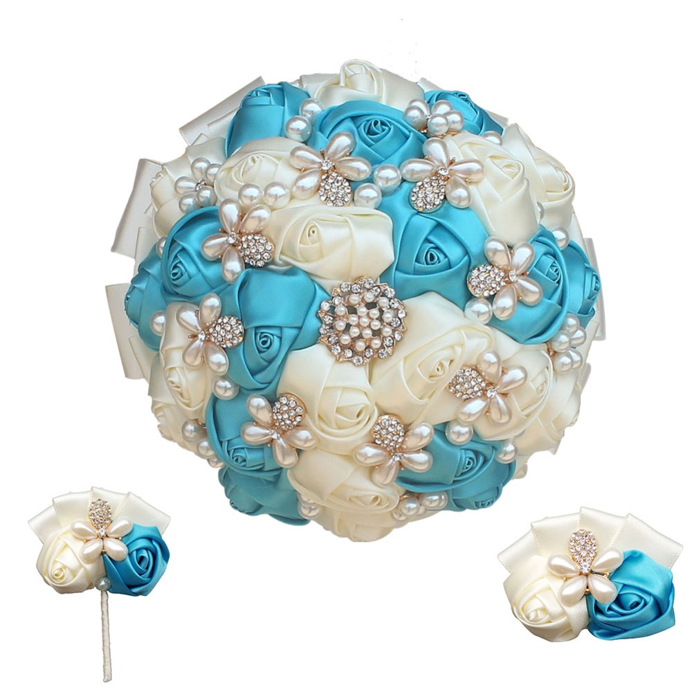 Set Of 10 Country Garden Flower Seed Wedding Favours With: Blue Mixed Ivory Holding Flowers Wedding Accessories