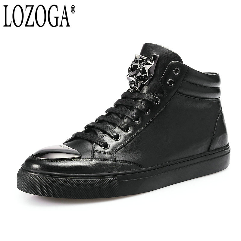 LOZOGA New Men Boots 100% Genuine Leather Handmade Luxury Designer Shoes Black Autumn Winter Fashion Metal Toe Motorcycle Boots lozoga new men shoes fashion boots ankle 100