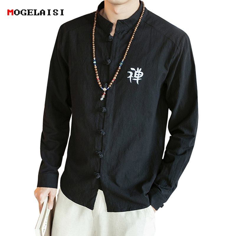 Men Spring And Autumn Fashion Brand Chinese Style Vintage Plaid Long Sleeve Linen Shirt Male Casual