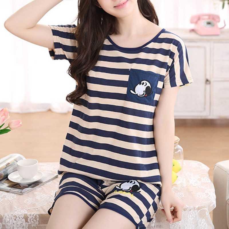 7c36d36606 Women Cartoon Pajamas Short Sleeve Cotton Pyjamas Set Home Nightwear  Sleepsuit