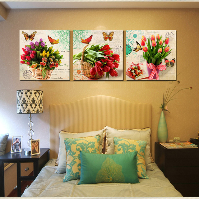 Vintage home decor canvas wall art modern bunch floral canvas print tulips printed paintings for office