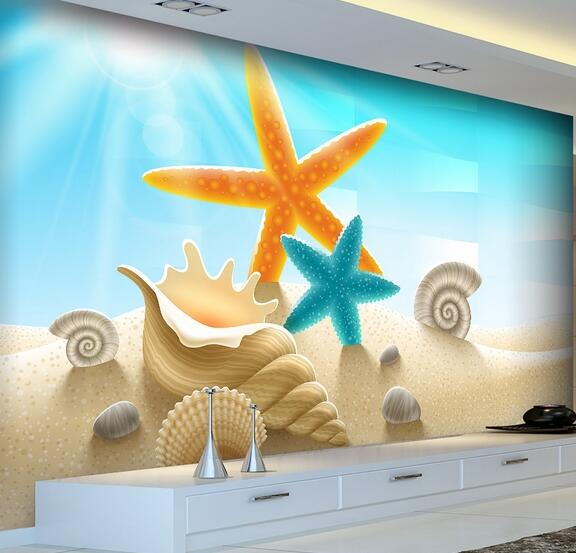 Minion Wallpaper Sea Shell Murals 3D Wallpapers for Living Room Bedroom Textured Large Photo Mural papel mural para pared