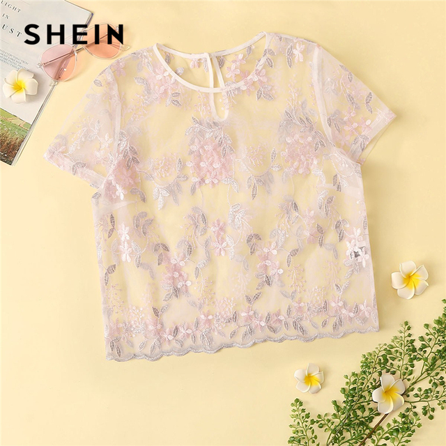 ab0deed7c6 SHEIN Sexy Pink Floral Embroidered Mesh Sheer Crop Top Blouse Women Summer  Keyhole Back O-Neck Short Sleeve Sweet Blouses