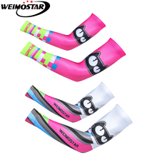 1 Pair Cycling Arm Warmers Women Summer Bike Bicycle Armwarmer Outdoor UV Protection Sport Cuff Ridding Running Arm Sleeves Cat