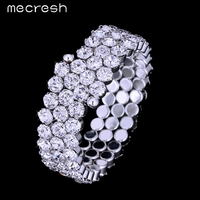 Hot Three Row Clear Crystal Silver Plated Party Bangles Bridal Wedding Jewelry Bracelets For Women SL135