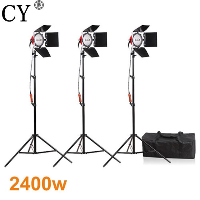 CY Photography Studio Continuous Lighting Kits 800W Video Red Head Continuous Light*3 with 200cm Light Stand*3 Photo Studio Set