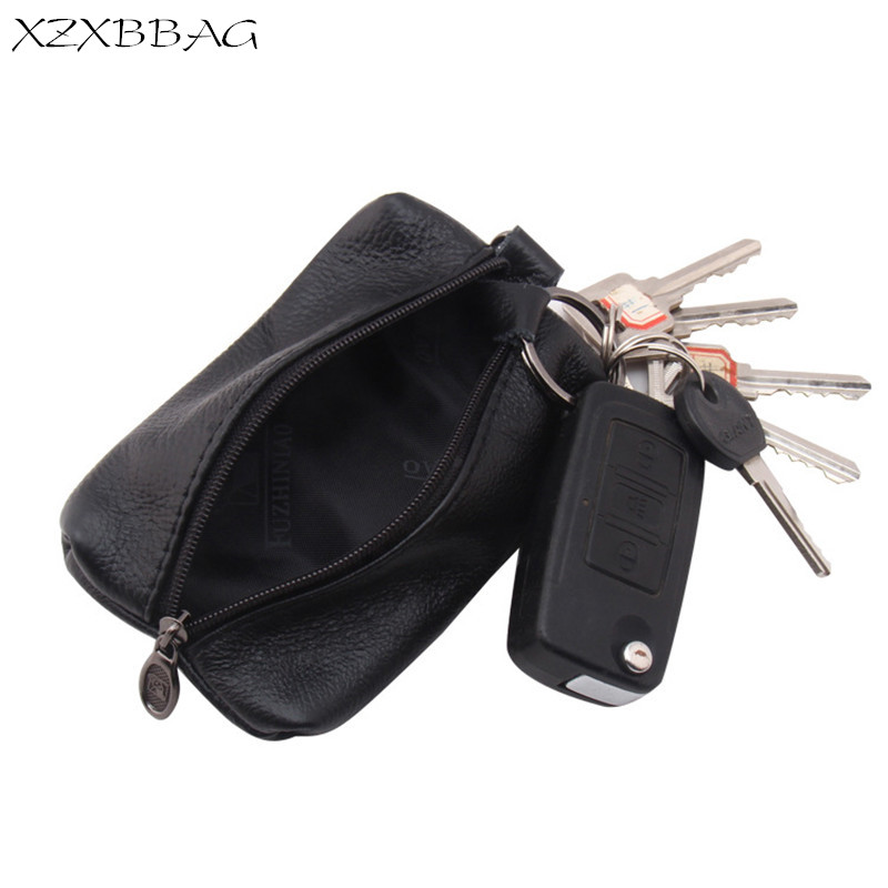 XZXBBAG 100% Genuine Leather Key Wallet Business Men Car Key Case Bag Holder Women Keychain Key Organizer Housekeeper Purse