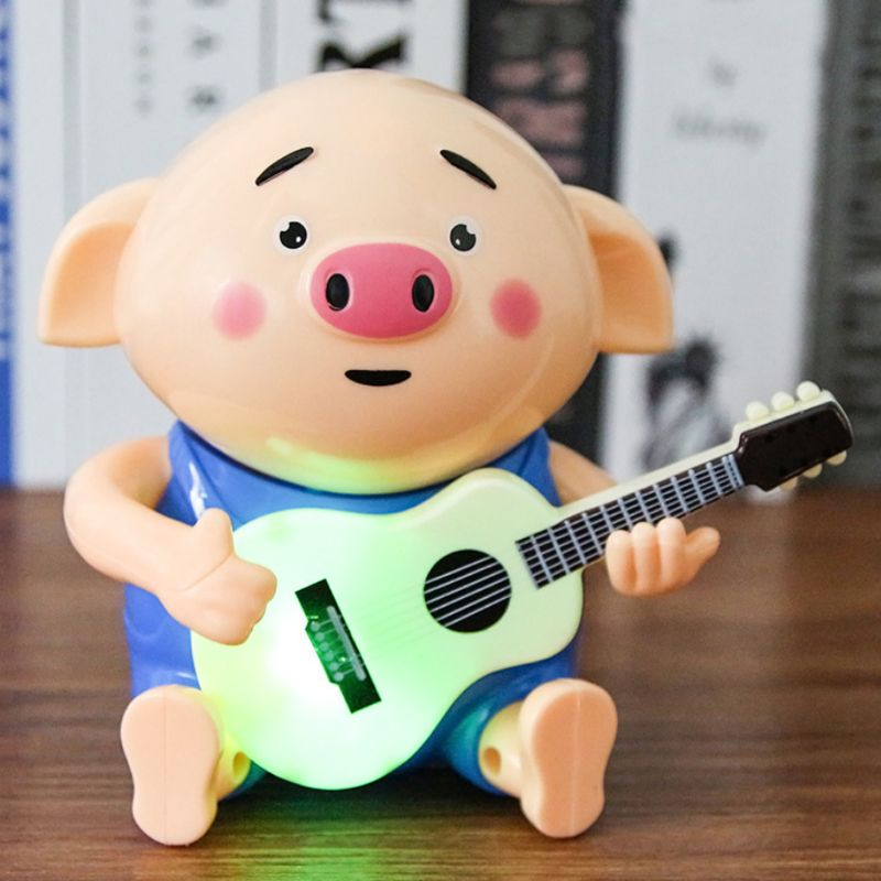 1Pc Cute Pig Playing The Guitar Electric Light Music Toy For Kids Children Playing Educational Toys Gifts Accessories