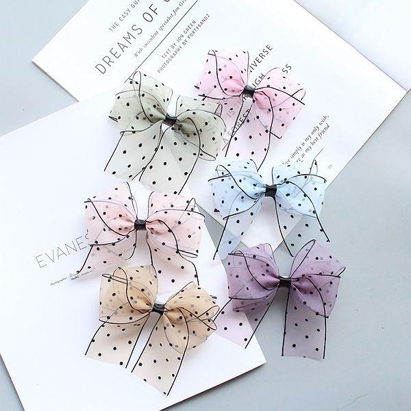Boutique 30pcs Fashion Cute Gauze Bow Hairpins Solid Polka Dot Bowknot Hair Clips Princess Headwear Hair