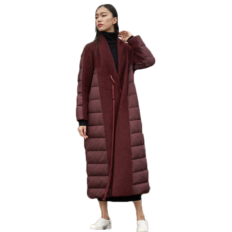Long parkas 2019 lady high quality wool spliced white duck   down   jackets female warm chic   down     coats   European Femme large Parker