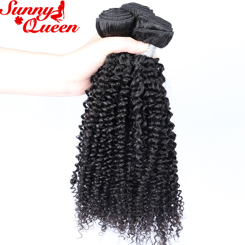 3 PCS Kinky Curly Human Hair Weave Bundles 100% Remy Hair Extensions Free Part Sunny Queen Hair Products