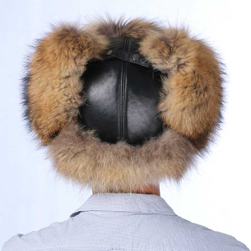 NGSG homens real silver fox fur trapper hat bomber pai tampa da neve do inverno de couro genuíno homem cap chapéu com protetores de orelha earmuffs masculino