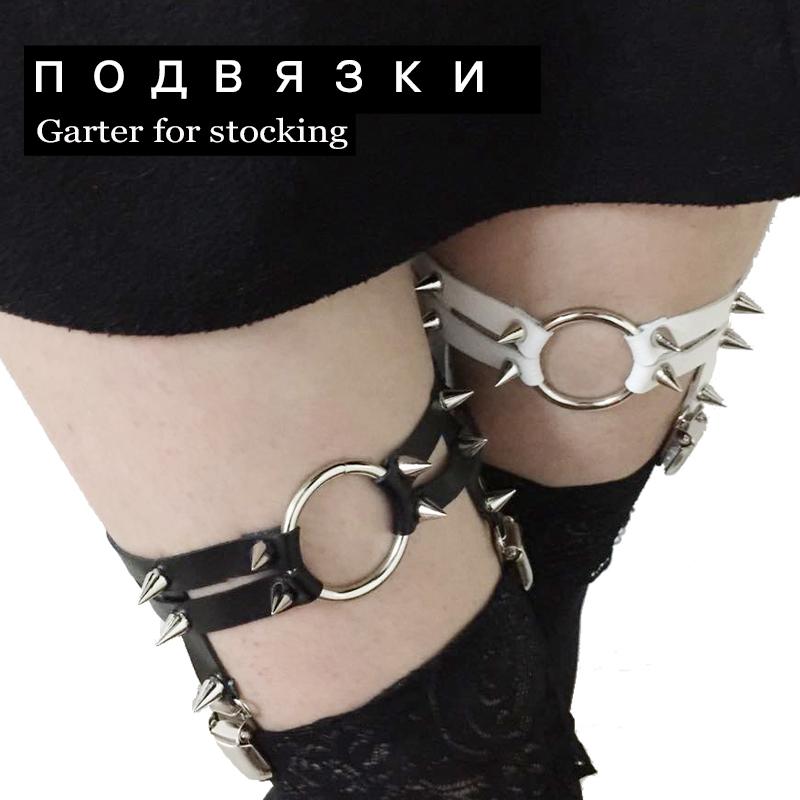 O-ring Leg Harajuku Sexy Garter Belts 2015 Rivets Rock Punk δερμάτινο Garter για γυναικεία δώρα