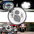 7'' INCH LED Headlight For Harley Davidson Motorcycle Silver Projector Daymaker LED Light Bulb High/Low Beam Waterproof headlamp