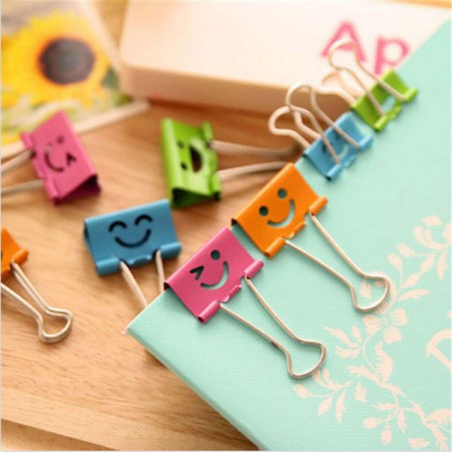 10PCS Common Smile Cute Binder Clips For Home Office Books File Paper Organizer
