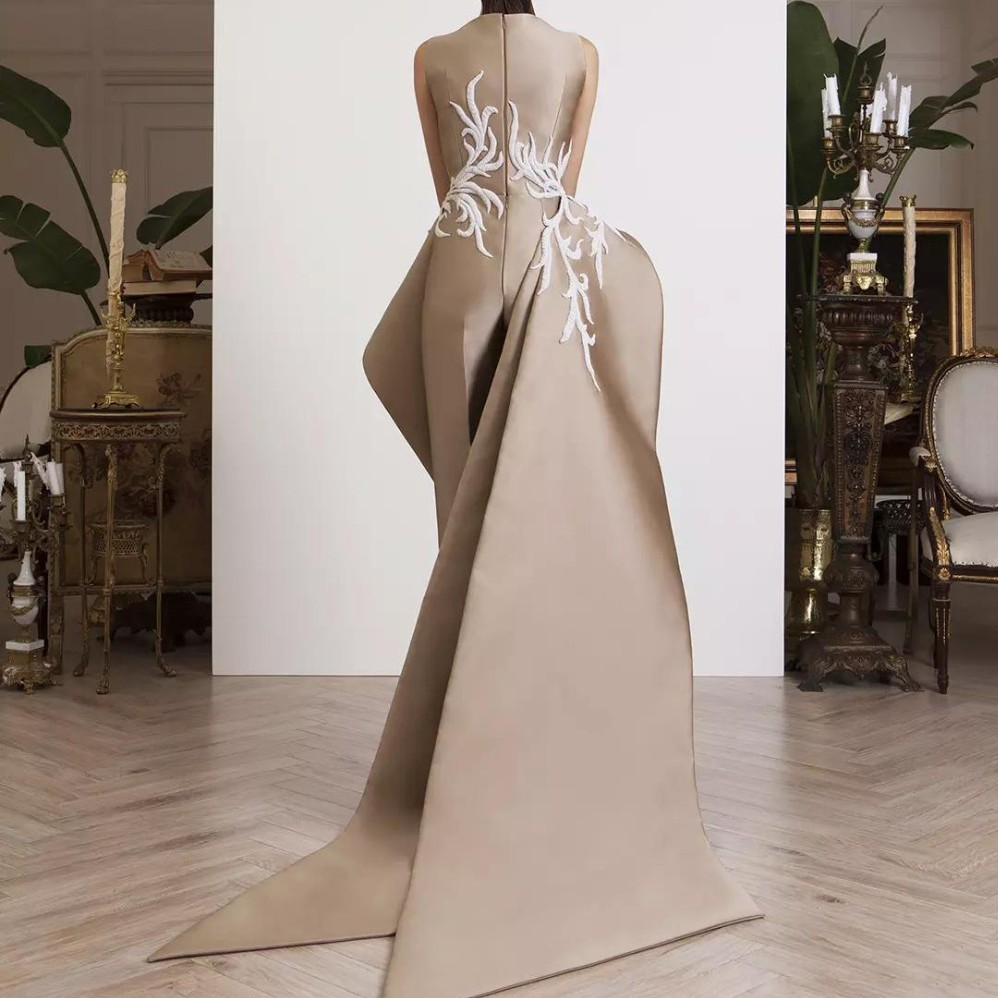 5bb9fb22244d1 Special Designers Evening Dress Satin Vestido De Festa robe de soiree  avondjurk Lace Appliques Evening Dresses Elegant Long