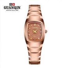 Fashion square reloj de las mujeres famosas marca guanqin diamond ladies relojes de cuarzo relojes de pulsera de acero de tungsteno de lujo montre femme