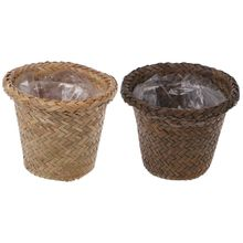 Natural Grass Braided Handmade Flower Pot Basket Simple Vintage Pastoral Style Home Office Indoor Plant Vase Balcony Window Deco