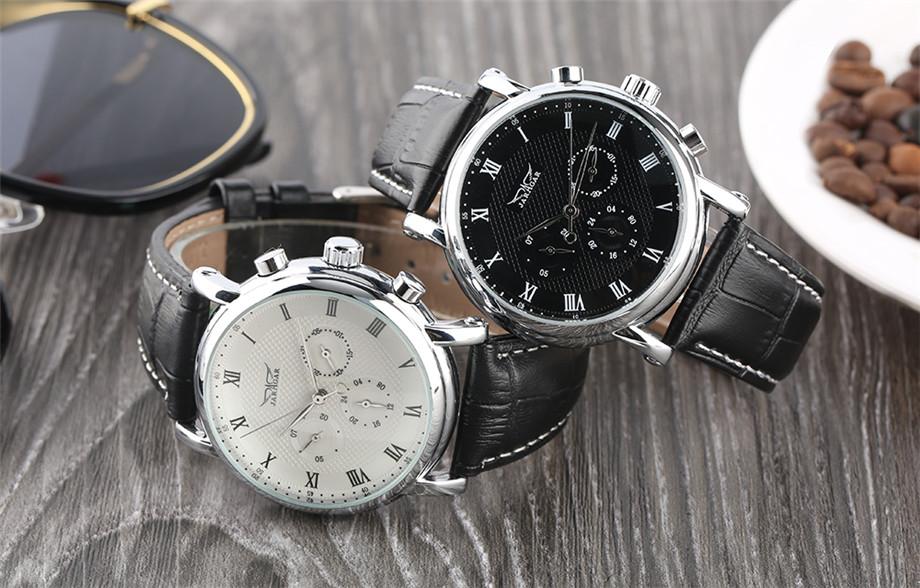 JARAGAR black genuine leather band mechanical watch men13