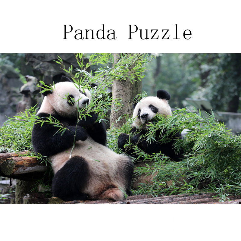 DDWE Creative DIY 1000 Piece Panda Animals Adults Wooden Jigsaw Puzzle Kits Learning Early Educational Toys For Child Adult Gift