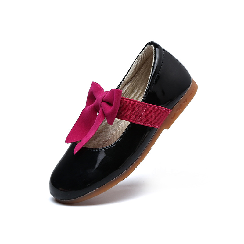 Size 26-36 Children Shoes Girls Shoes Princess Shoes Fashion Bowtie Patent Leather Spring Summer Kids Single Shoes For Girls