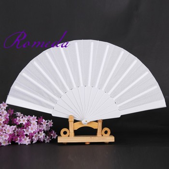 50pcs/lot Hand Folding Fan with Polyester Fabric and Plastic Ribs Fan Single Sides Cloth without Any Logo Fan