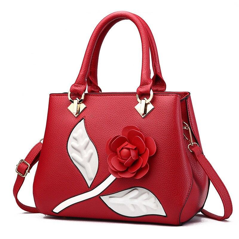 Bandoulière Messager Décoration Mode Élégant Rose Rouge De À Main Femmes Pu Fleur Office Lady Sac n6HqnZPOw