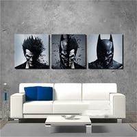 Painting Living Room Wall Decoration Art 3 Pieces/Pcs Joker Batman Poster Canvas Frames Print HD Modular Printed Picture