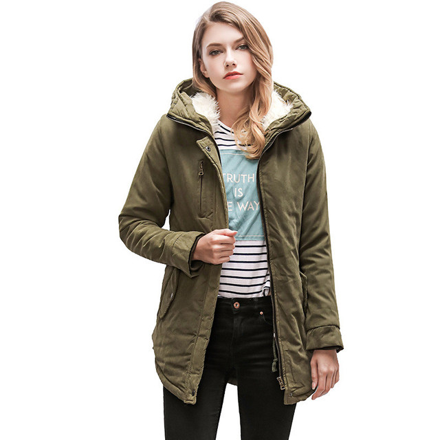 ZYSK 2018 Winter Thick Coat Parkas Women Long Winter Zipper Wool Down Parka Cotton Ladies Down Jacket Parka for Women Streetwear