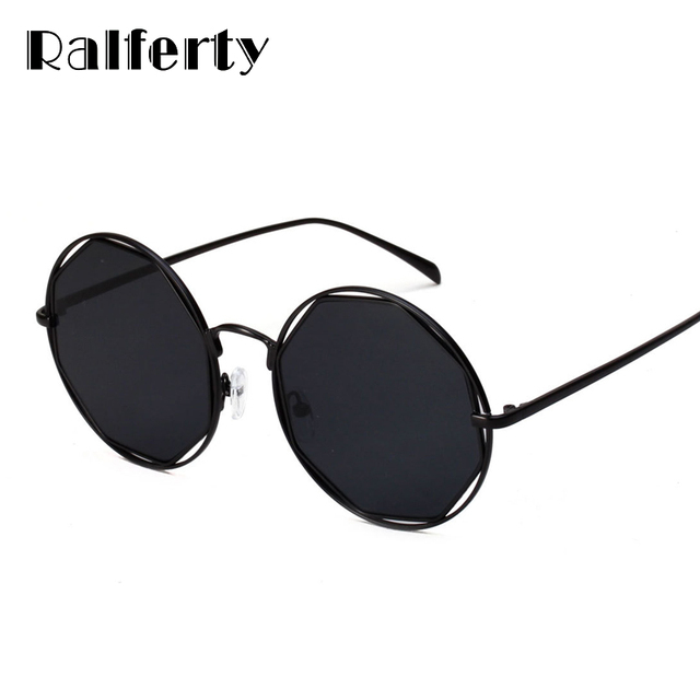 abd01182c4a Ralferty Vintage Round Sunglasses Women Brand Designer Retro Sun Glasses  Women Big Black Shades Stylish Hollow Out Goggles 1886