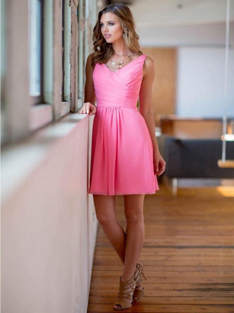 Bright Pink Chiffon Short Bridesmaid Dresses Fashion Dresses