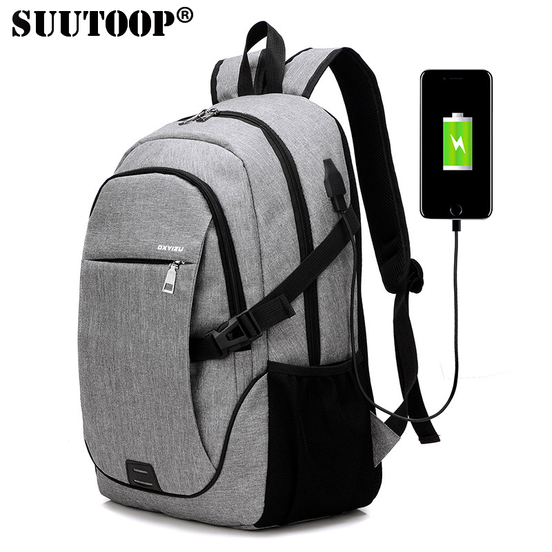 External USB Charge Canvas Backpack College Student School Backpack For Teenagers Vintage Mochila Ruck