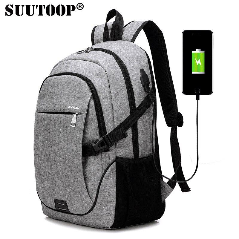 SUUTOOP 2019 Laptop USB Charge Men Canvas Travel Backpack Schoolbag School Backpack For Teenagers Casual Male Pack Bag