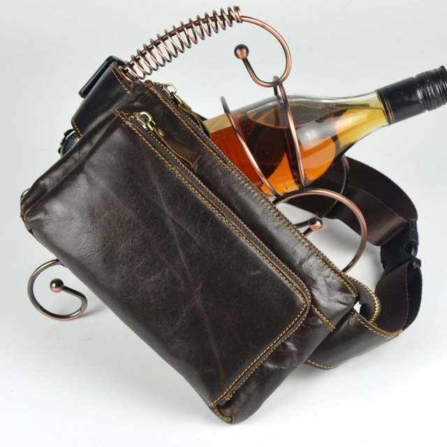 Hombres Aceite de Cera del Zurriago del Cuero Genuino de La Vendimia Hip Bum Cinturón Bolsa Riñonera Bolso de la Cintura de Viaje Celular/Teléfono Móvil Purse Bolsas
