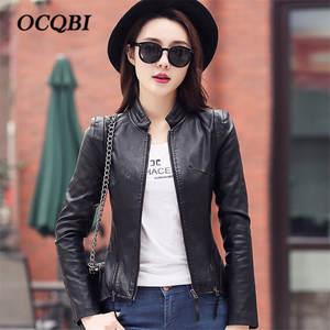 fd77f691b4c OCQBI Parkas Plus Size Spring Women Leather Bomber Jacket