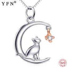 YFN สร้อยคอผู้หญิง 925 เงินสเตอร์ลิงเครื่องประดับสัตว์น่ารัก Cat & Moon สร้อยคอจี้เงินเพื่อนที่ดีที่สุดแม่ของขวัญวัน