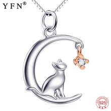 YFN Necklace Women 925 Sterling Silver Jewelry Animal Cute Cat&Moon Pendant Necklaces Silver Chain best Friend Mothers Day Gift